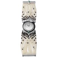 High Jewelry watch (Small model 18K white gold diamonds pearls onyx emeralds) 3