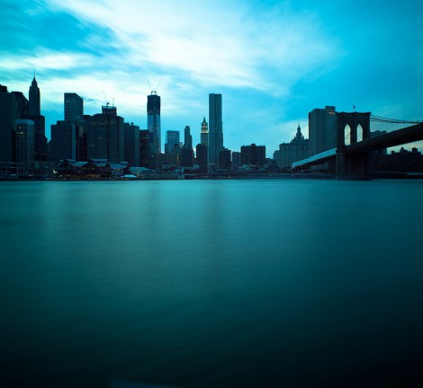 Brooklyn Bridge and Manhattan Skyline, New York City. Long expos