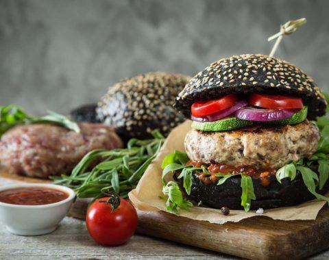 Preparing black burger and ingredients, copy space