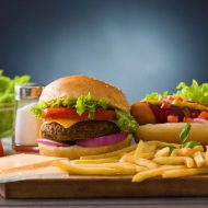 fast food hamburger,  hot dog menu with burger, french fries, tomato ,cola and many more