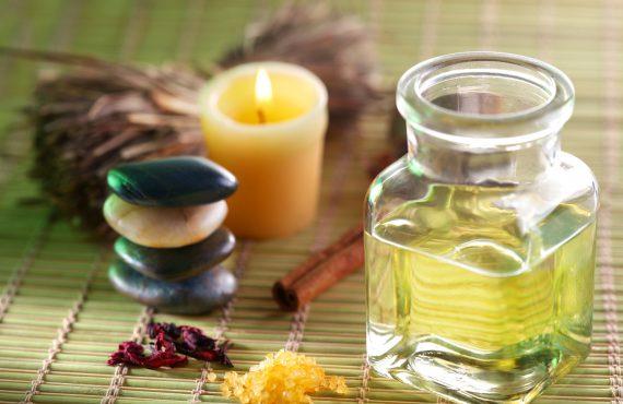 Still life with massage oil in the spa salon