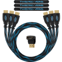 Twisted-Veins-Three-(3)-Pack-of-(3-ft)-High-Speed-HDMI-Cables-+-Right-Angle-Adapter-and-Velcro-Cable-Ties+a-microfiber-cloth-+a-led-key-chain_1