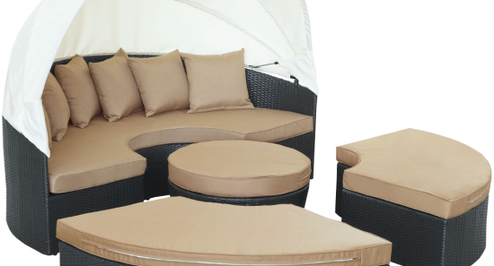 LexMod Quest Circular Outdoor Wicker Rattan Patio Daybed_4
