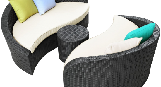 LexMod Twirl Outdoor Wicker Patio 3 Piece Sofa Set_1