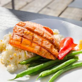 Grilled Salmon Filet Over Basmati Rice 1