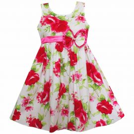 Girls Dress Big Peony Flower Bow_01