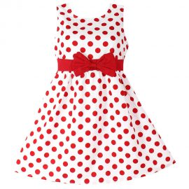 Girls Dress Red Polka Dot Bow_01