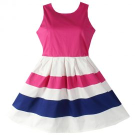 Girls Dresses Pink Striped Cotton Party Pageant_01