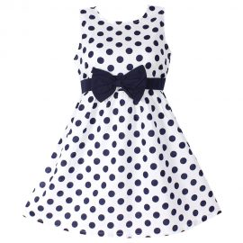 New Girls Dress Blue Polka Dot_01