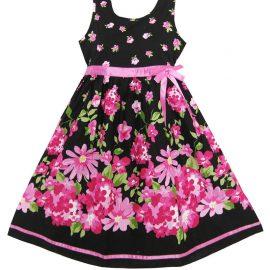 Sunny Fashion Girls Dress Hot Pink Flower_01
