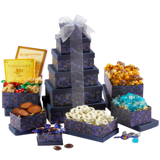 Broadway Basketeers Souring Saphire Sympathy Gift Tower 1