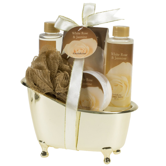 White Rose Jasmine Gold Tub Spa Bath Gift Set 1