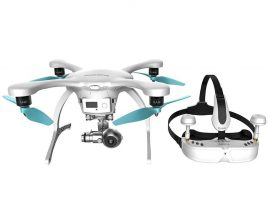 EHANG - Ghostdrone 2.0 VR Drone (Apple iOS Compartible) - White-Blue 1