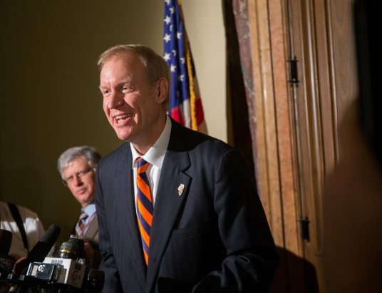 Gov.-elect Bruce Rauner talks to press at the Illinois State Capitol in Springfield on Tuesday, Dec.2, 2014. (Zbigniew Bzdak/Chicago Tribune)
