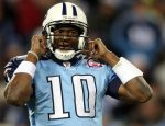NASHVILLE, TN - DECEMBER 25: Vince Young #10 of the Tennessee Titans looks to the sidelines during the Titans loss to the San Diego Chargers on December 25, 2009 at LP Field in Nashville, Tennessee. (Photo by Rex Brown/Getty Images)