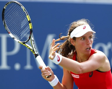 Editorial use only. No merchandising. For Football images FA and Premier League restrictions apply inc. no internet/mobile usage without FAPL license - for details contact Football Dataco Mandatory Credit: Photo by Ella Ling/BPI/REX Shutterstock (5036497l) Johanna Konta of Geat Britain in action at the US Open, Flushing, New York, 2015 US Open Tennis Championships 2015 Day Four Flushing Meadows US Open, New York, United States - 3 Sep 2015