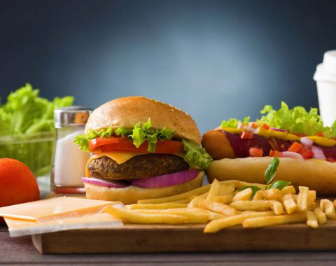 fast food hamburger,  hot dog menu with burger, french fries, tomato ,cola and many more