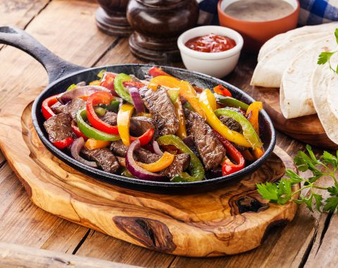 Beef Fajitas with colorful bell